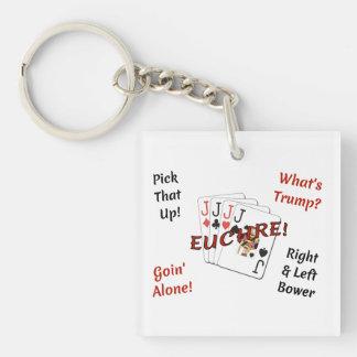 Porte-clés Porte - clé double face carré - Euchre !
