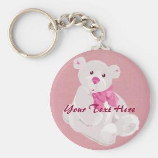 Porte-clés Porte - clé d'ours rose et blanc