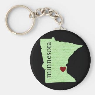 Porte-clés Porte - clé du Minnesota avec le coeur