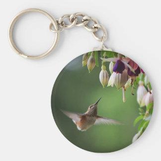 Porte-clés Porte - clé d'usine de colibri et de fleur de