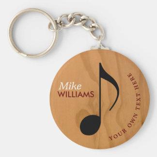 Porte-clés porte - clé en bois de symbole de musique de faux