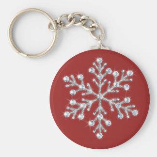 Porte-clés Porte - clé en cristal de flocon de neige (rouge)