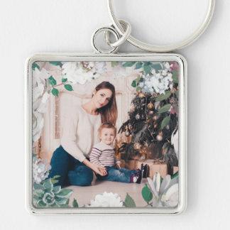 Porte-clés Porte - clé floral de floraison de photo de Noël
