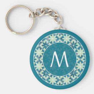 Porte-clés Porte - clé floral de tuiles de monogramme bleu