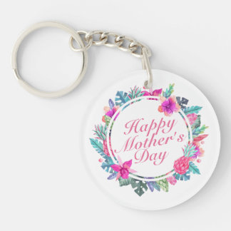 Porte-clés Porte - clé floral heureux tropical de cadre du