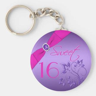 Porte-clés Porte - clé floral pourpre et rose de sweet