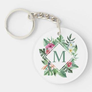 Porte-clés Porte - clé floral tropical du monogramme | de