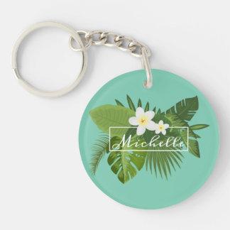 Porte-clés Porte - clé floral tropical personnalisé du cadre