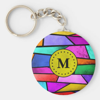 Porte-clés Porte - clé géométrique coloré en verre souillé de