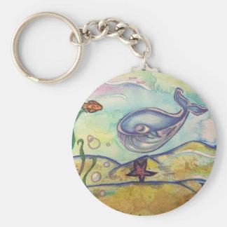 Porte-clés Porte - clé heureux d'aquarelle de baleine