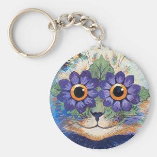 Porte-clés Porte - clé hippie vintage de chat de flower power