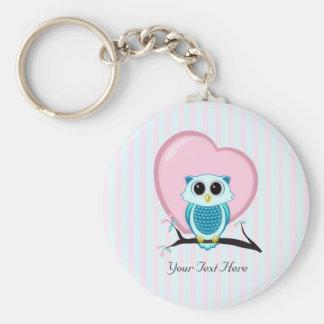 Porte-clés Porte - clé mignon de hibou et de modèle de coeur