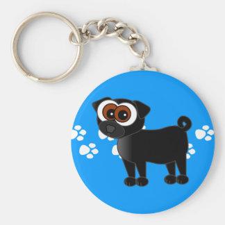 Porte-clés Porte - clé noir mignon de carlin - bleu