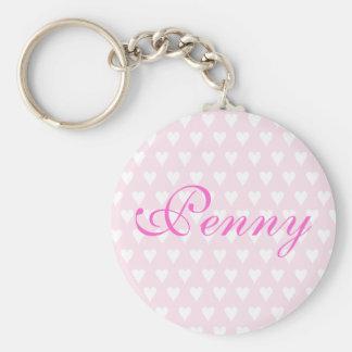 Porte-clés Porte - clé nommé personnalisé de coeurs de filles