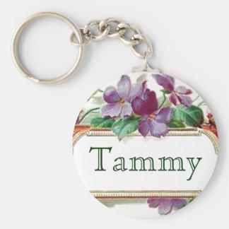 Porte-clés Porte - clé nommé violet vintage coloré élégant