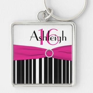 Porte-clés Porte - clé rayé noir 16, blanc, rose avec le nom