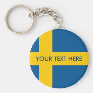 Porte-clés Porte - clé rond de bouton de drapeau suédois pour