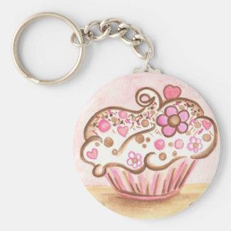 Porte-clés Porte - clé rose de coeur de petit gâteau