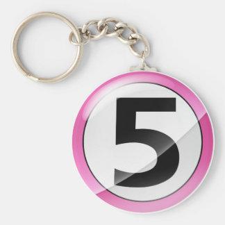 Porte-clés Porte - clé rose du numéro 5