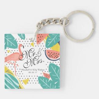 Porte-clés Porte - clé tropical personnalisé de mariage d'été