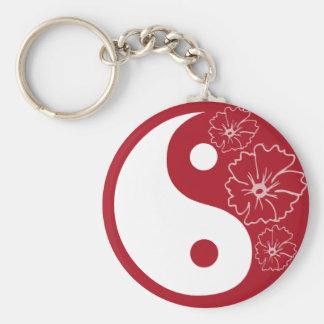 Porte-clés Porte - clé tropical rouge de Yin Yang de fleur