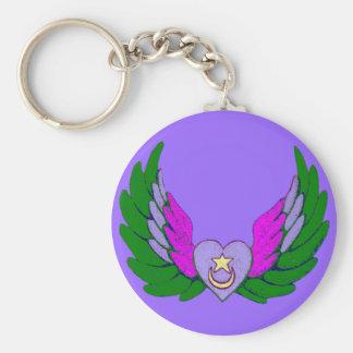 Porte-clés Porte - clé vert de coeur à ailes par Sufi