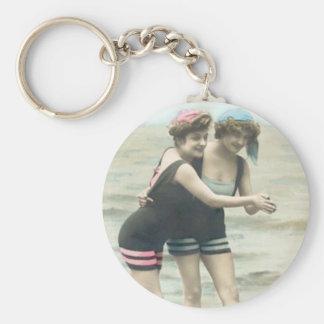 Porte-clés Porte - clé vintage de plage de baigneurs de Sun