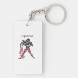 Porte-clés porte clef acrylique aquarius rouge