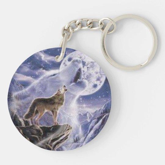 Porte-clés porte clef acrylique loup couleurs