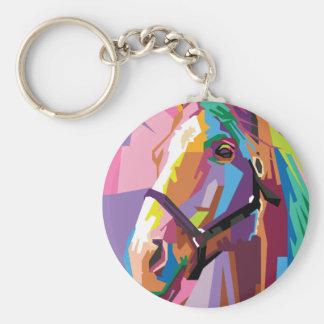 Porte-clés Portrait coloré de cheval d'art de bruit