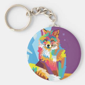 Porte-clés Portrait coloré de Fox d'art de bruit
