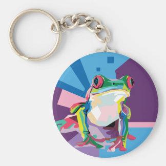 Porte-clés Portrait coloré de grenouille d'arbre