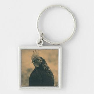 Porte-clés Portrait de coq dans la sépia