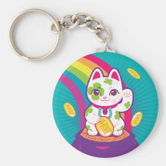 Porte-clés Pot de bonne chance de Maneki Neko de chat d'or