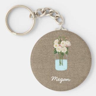 Porte-clés Pot de maçon personnalisé de fleur blanche sur la
