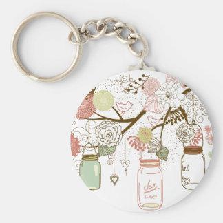 Porte-clés Pots de maçon et jolies fleurs