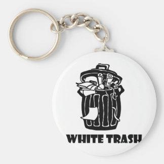 Porte-clés Poubelle de déchets blancs