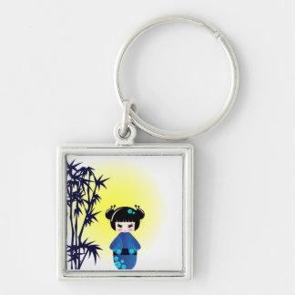 Porte-clés Poupée et bambou de Kokeshi