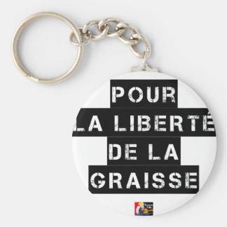 Porte-clés Pour la LIBERTÉ DE LA GRAISSE - Jeu de mots
