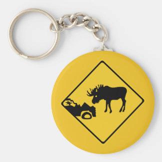 Porte-clés Prenez garde des orignaux, poteau de