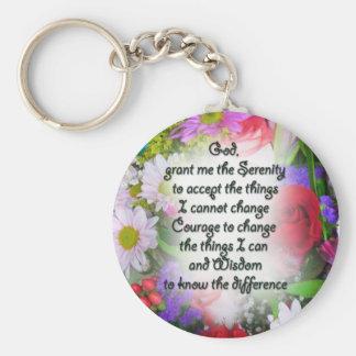 Porte-clés Prière de sérénité avec des fleurs