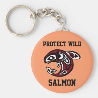 Porte-clés Protégez le bouton saumoné sauvage