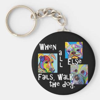 Porte-clés Quand tout le d'autre échoue, marchent le chien