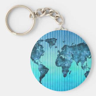Porte-clés Rayures bleues au néon de la carte | du monde
