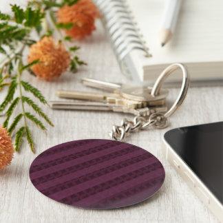 Porte-clés Rayures cramoisies chiques - rouge et pourpre