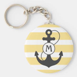 Porte-clés Rayures et monogramme nautiques de jaune d'ancre