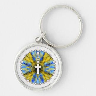 Porte-clés Receveur bleu et jaune de rêve de chapelet