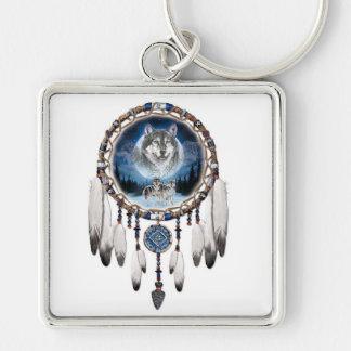 Porte-clés Receveur rêveur avec l'arrière - plan de loup