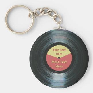Porte-clés record rouge et jaune de musique noire
