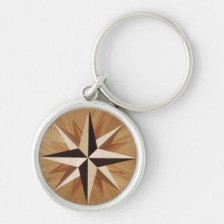 Porte-clés Regard du bois foncé de marqueterie d'étoile